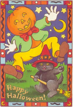 Vintage Halloween Image cat and jack o lantern