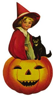 Vintage halloween image girl witch cat pumpkin