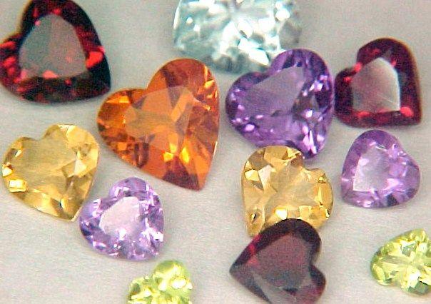 Mixed gemstone hearts