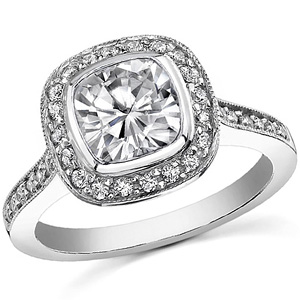 Moissanite Legacy cushion cut engagement ring