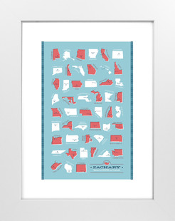 States and Capitals Art Print