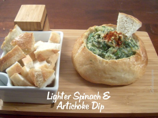 spinachdip 550 x 413 Lighter Spinach Artichoke Dip Recipe