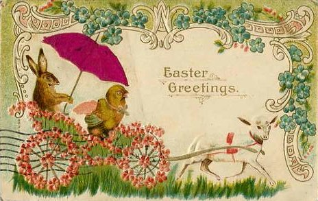 Vintage Easter Potcard with chick and bunny