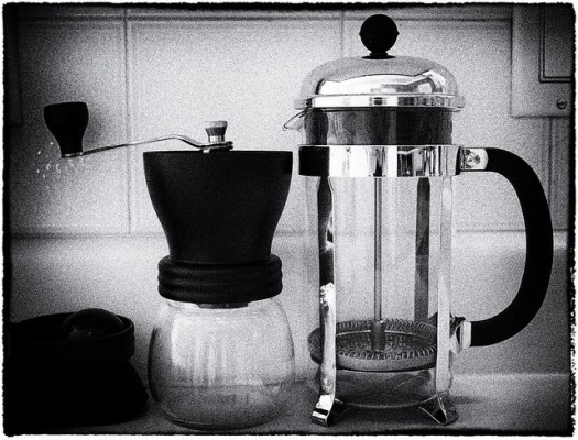 French Press and coffee grinder
