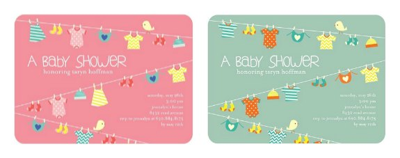 Lovely Laundry Baby Shower Invitations