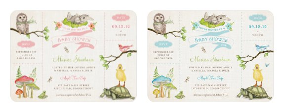 Wonderful Woodland Baby Shower Invitations