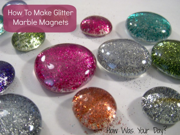 glitter glass marbles finished 2 How to Make Glitter Glass Marble Magnets