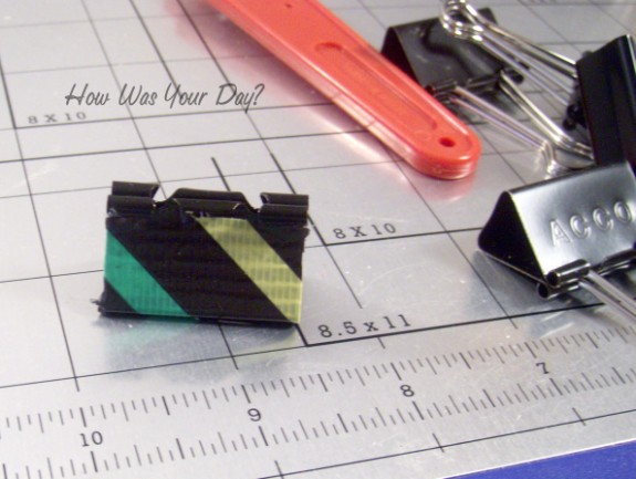 duct tape binder clips trimmed 2 575 x 433 Decorated Binder Clips are Fun Duct Tape Crafts