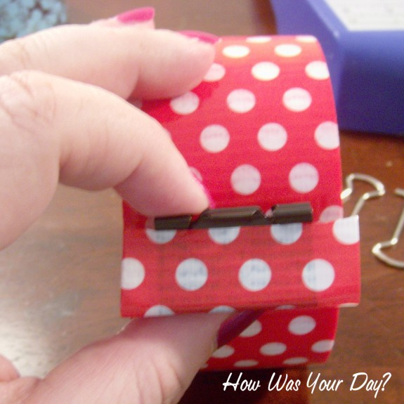 red dot binder clip 2 575 x 575 Decorated Binder Clips are Fun Duct Tape Crafts