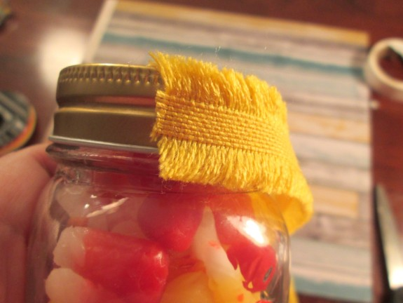 starburst candy corn jar linen ribbon 575 x 432 DIY Starburst Candy Corn Party Favors