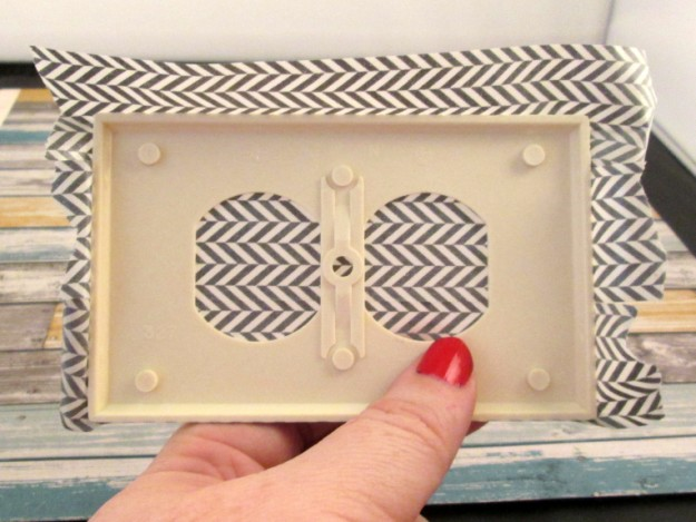 washi tape switchplate step 5 back 625 x 469 DIY Washi Tape Switch Plate Cover Tutorial