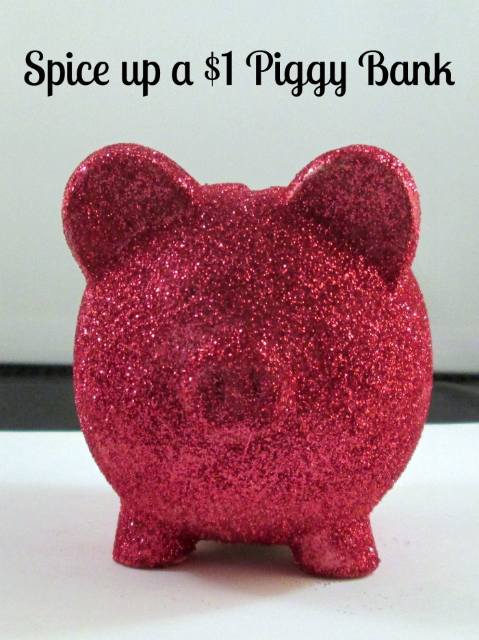 glitter piggy bank wm How to Glitter a Dollar Store Piggy Bank