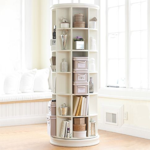 rotating round bookcase Great Solutions for Small Space Living