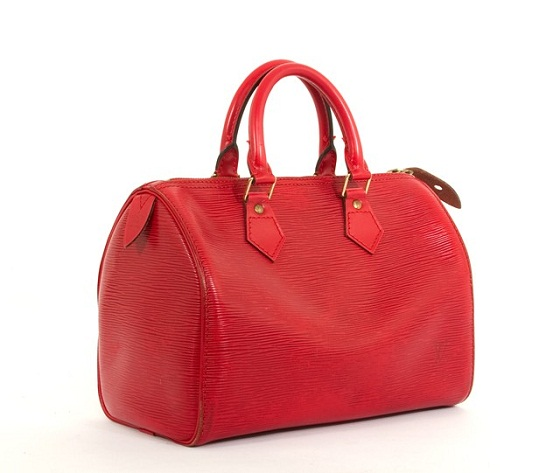 Louis Vuitton epi Speedy Handbag Purse in Red