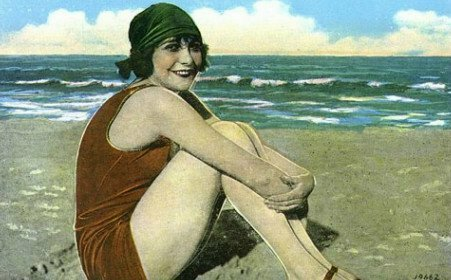 Vintage 1930s lady at the beach