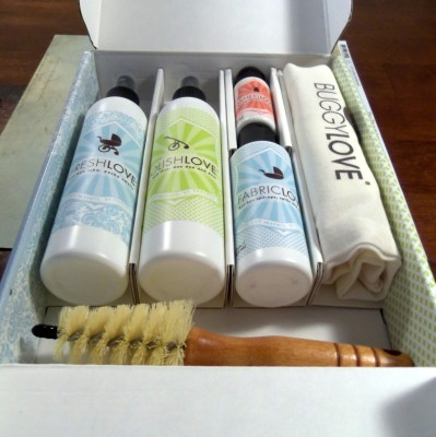 buggylove organic stroller cleaning kit open