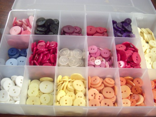Vintage buttons sorted by color