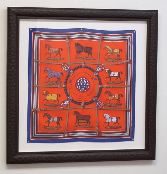 Framed Hermes Scarf as artwork