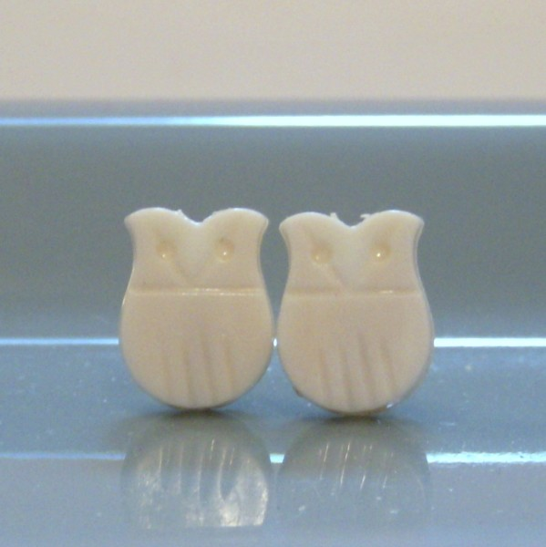 Vintage Ivory Owl Stud Earrings