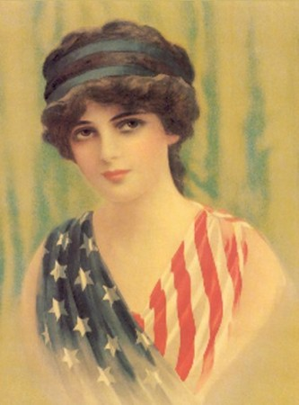 Vintage Woman Image in American Flag