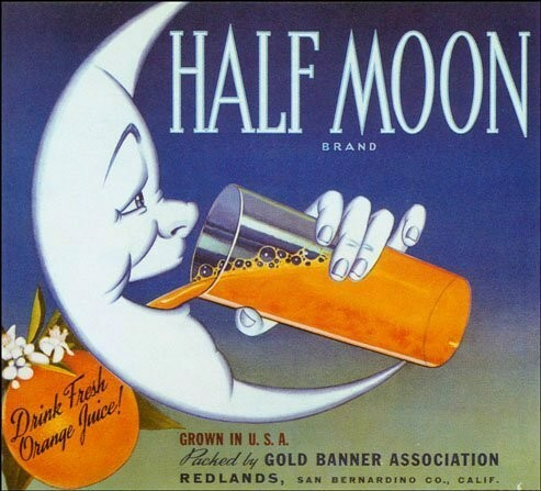 Half Moon Vintage Fruit Crate Label