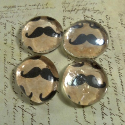 Mustache Glass Marble Magnets