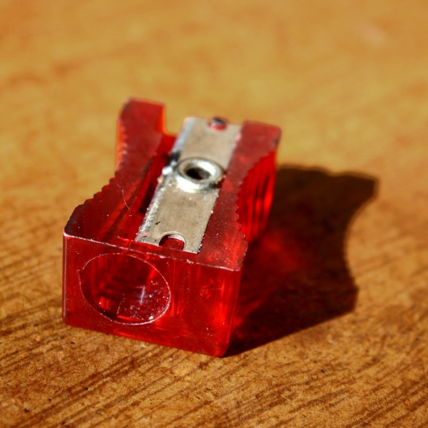 Retro red plastic pencil sharpener