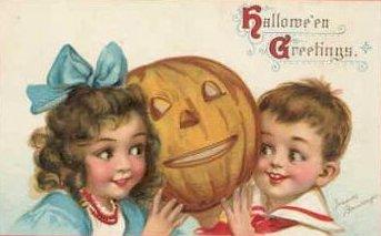 Vintage Halloween Postcard with Children