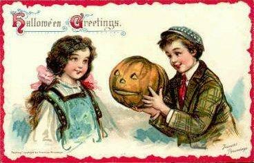 Halloween Vintage Postcard Boy Girl Pumpkin