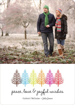 Colorful Trees Paper Culture Holiday Card