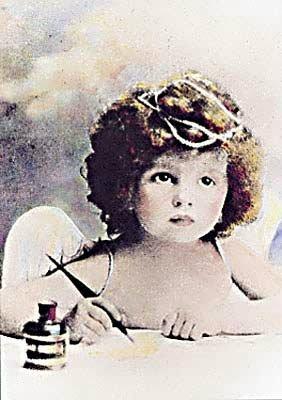 Angel child writing vintage image