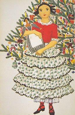 Vintage Christmas girl with tree image