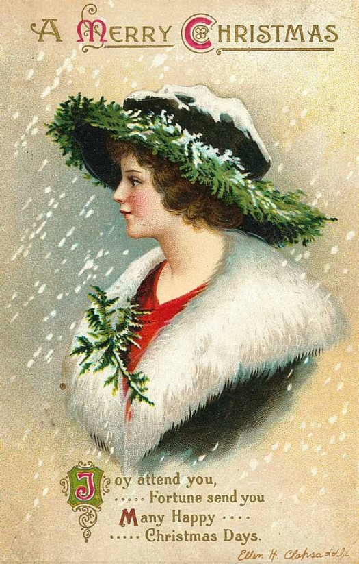 Vintage Christmas Lady Postcard Greeting