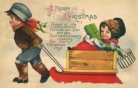 Vintage Christmas Children Playing postcard image