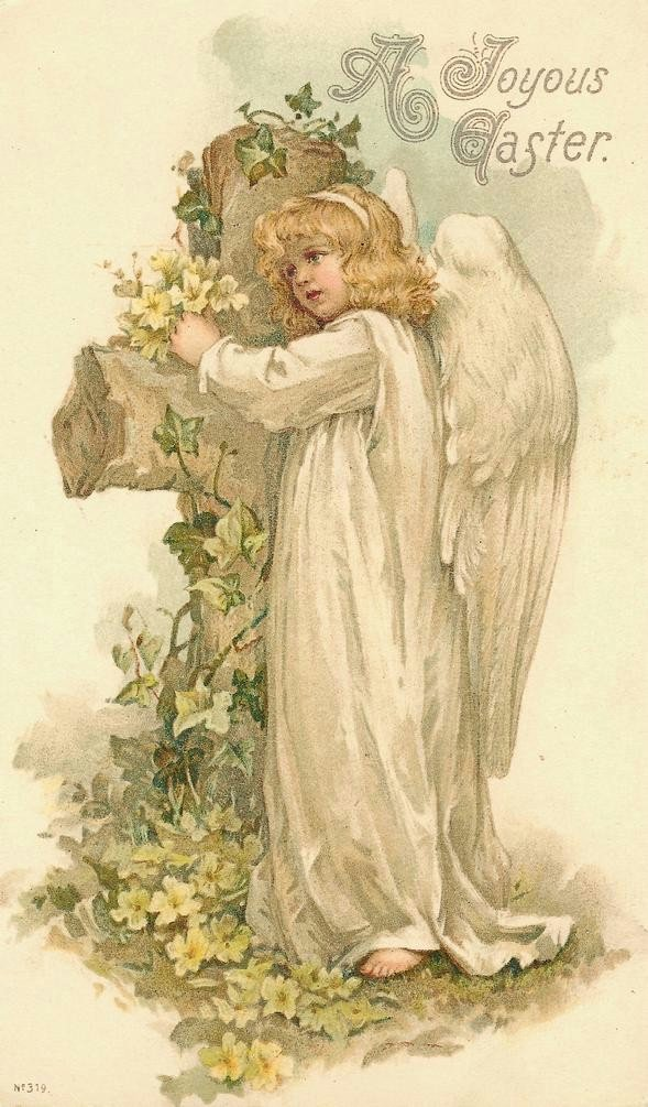 Vintage Easter Gretting with Angel and Cross