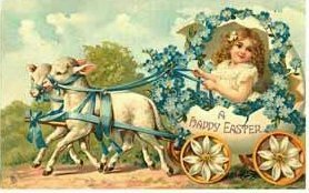 Vintage Easter Postcard with girl and lambs