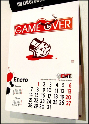 Monopoly Calendar with headless Mr Moneybags