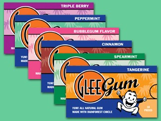 All Flavors of All Natural Glee Chewing Gum