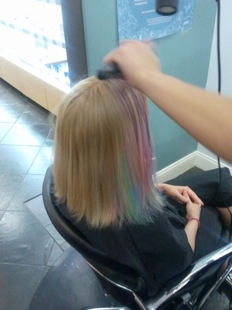 Hair Chalking process